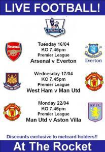 Football fixtures at Rocket upcoming.